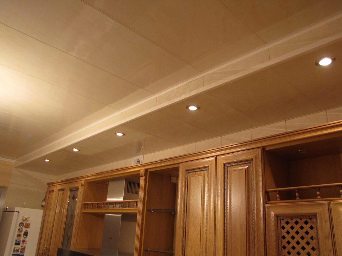 панели на потолке в кухне