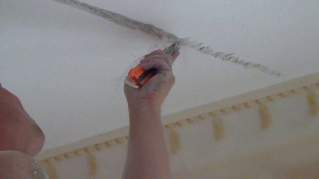 заделка дефектов потолка