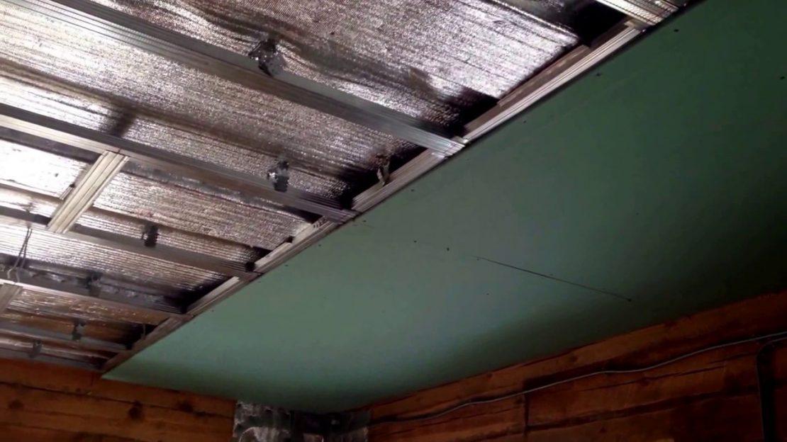 устройство подшивного потолка из гипсокартона