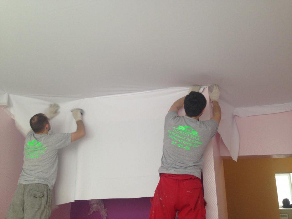установка потолка без нагревания