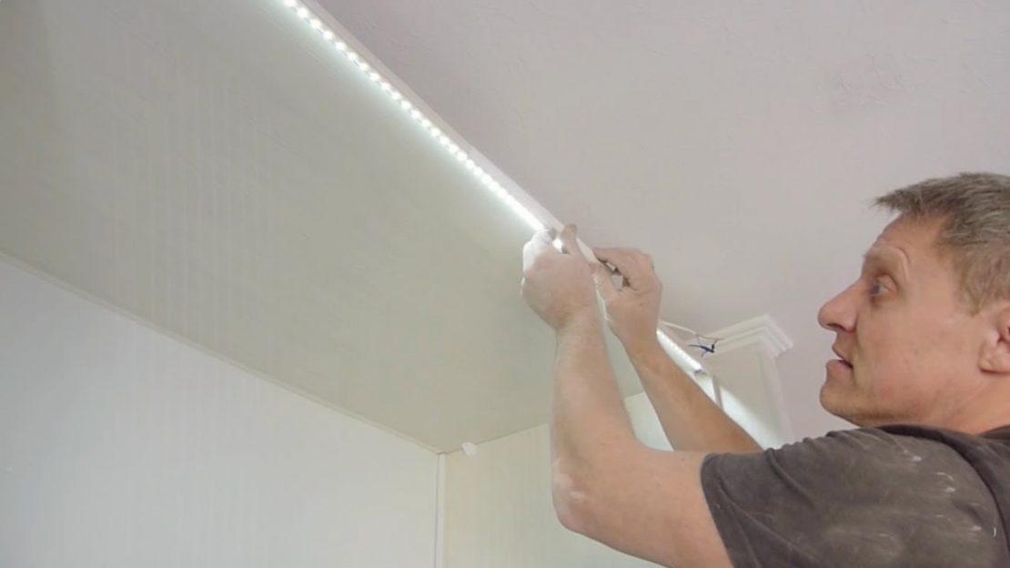 монтаж подсветки из светодиодов